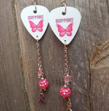 Butterfly Support Pink Ribbon Guitar Picks with Pink Rhinestone and Charm Dangles