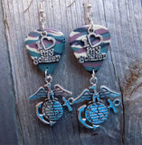 Marine Corps Insignia I Love My Soldier Charm Guitar Pick Earrings