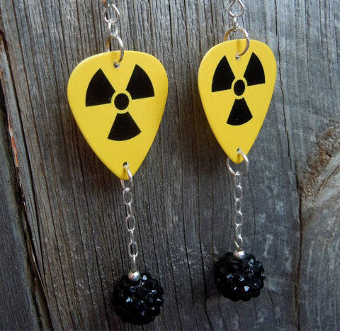 Yellow and Black Nuclear Symbol Guitar Pick Earrings with Black Rhinestone Dangles