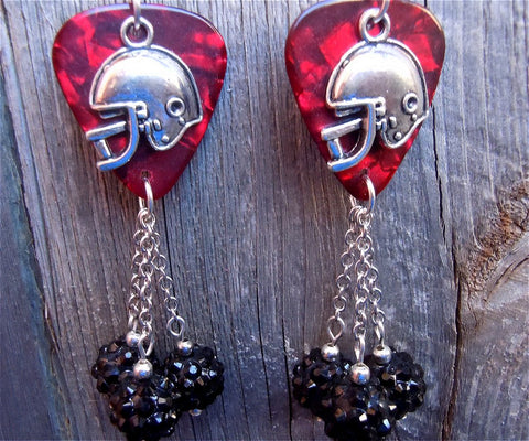 Football Helmet Charm on Red MOP Guitar Pick Earrings with Black Rhinestone Dangles