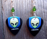 I Believe Alien Guitar Pick Earrings with Green Swarovski Crystals