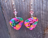 MultiColor Pick Jesus Guitar Pick Earrings with Pink Swarovski Crystals