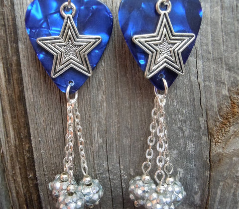 Silver Star Charms on Blue MOP Guitar Pick Earrings with Silver Rhinestone Bead Dangles