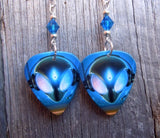 Alien Guitar Pick Earrings with Capri Blue Swarovski Crystals