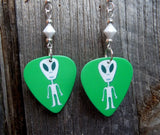 Green Alien Guitar Pick Earrings with White Swarovski Crystals
