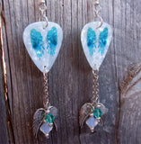 Teal Wings on White MOP Guitar Pick Earrings with Silver Charm and Swarovski Crystal Dangles