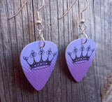 Purple with Black Crown Guitar Pick Earrings
