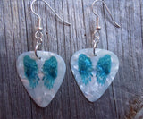 Blue Wings on White MOP Guitar Pick Earrings