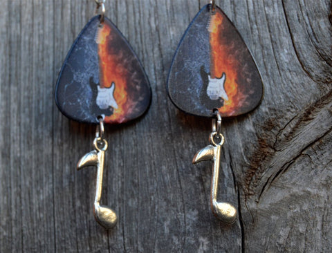 Guitar Fire and Ice Guitar Pick Earrings with Music Note Dangles