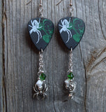 Spider Guitar Pick Earrings with Swarovski Crystal and Spider Charm Dangles