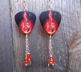 Guitar of Flames Guitar Pick Earrings with Crystal and Charm Dangles