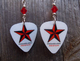 Red and Black Star Guitar Pick Earrings with Red Swarovski Crystals
