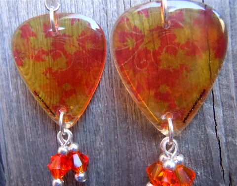 Transparent Orange and Yellow Autumn Leaves Guitar Pick Earrings with Fire Opal Swarovski Crystal Dangles