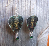 Monster Skeleton Guitar Pick Earrings with Green Crystal Charm Dangles