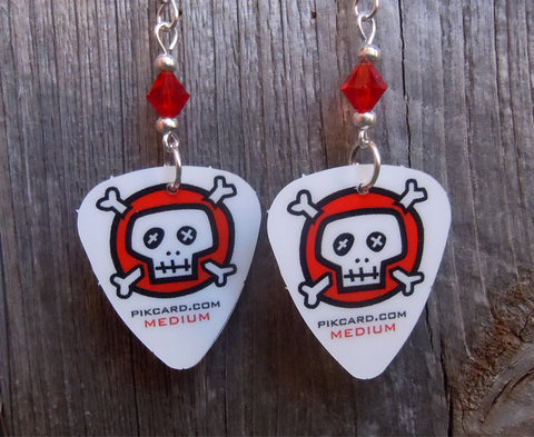 Red and Black Skull and Crossbones Guitar Pick Earrings with Red Swarovski Crystals