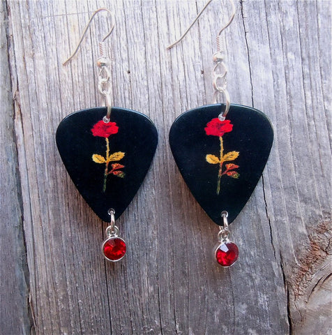 Red Rose Guitar Pick Earrings with Red Crystal Charms