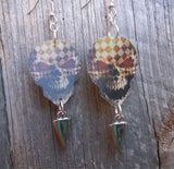 Hologram Checkered Skull Guitar Pick Earrings with Spike Charms