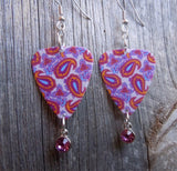 Fuchsia and Pink Paisley Guitar Pick Earrings with Crystal Charm Dangles