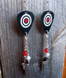Red, Black and White Target Guitar Pick Earrings with Swarovski Crystal and Metal Charm Dangles