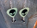 Glow in the Dark Alien Head Guitar Pick Earrings with Black Crystal Dangles