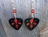 Fleur de Lis Guitar Pick Earrings with Indian Red Swarovski Crystals