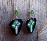 Black with Green Crosses Guitar Pick Earrings with Green Crystals