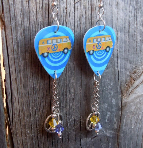 VW Hippie Bus Guitar Pick Earrings with Silver Charm and Swarovski Crystal Dangles