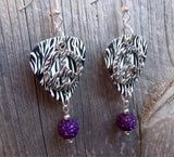 Zebra Print with Peace Sign Charm Guitar Pick Earrings with Purple Pave Beads