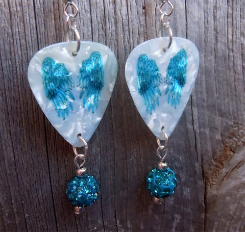 Teal Wings Guitar Pick Earrings with Teal Pave Bead Dangles