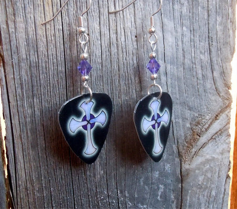Black with Purple Crosses Guitar Pick Earrings with Purple Swarovski Crystals