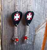 Red, Black and Grey Iron Cross Guitar Pick Earrings with Charm and Swarovski Crystal Dangles
