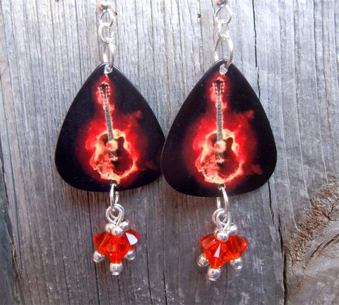 Acoustic Guitar of Flames Guitar Pick Earrings with Orange Crystal Dangles