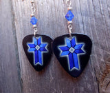Blue Cross Guitar Pick Earrings with Blue Crystals