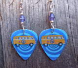 VW Hippie Bus Guitar Pick Earrings with Purple Swarovski Crystals