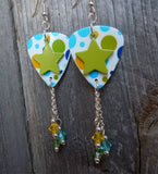 Green Star on Polka Dot Guitar Pick Earrings with Swarovski Crystal Dangles