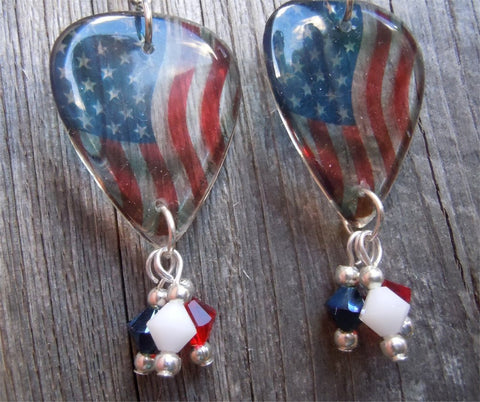Transparent American Flag Guitar Pick Earrings with Swarovski Crystal Dangles