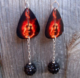 Acoustic Guitar on Fire Guitar Pick Earrings with Black Rhinestone Dangles