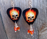 Flaming Skull Guitar Pick Earrings with Fire Opal Crystal Dangles