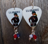Classic Pin Up U.S. Air Force Guitar Pick Earrings with Swarovski Crystal Bicone Dangles