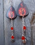 Acoustic Guitar in Flames Guitar Pick Earrings with Charm and Swarovski Crystal Dangles