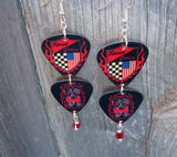Car Racing Double Guitar Pick Earrings with Red Swarovski Crystals