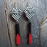 Motorcycle Charm on Checkered Guitar Pick Earrings with Chain Dangles