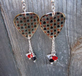 Card Suits Transparent Guitar Pick Earrings with Silver Charm and Swarovski Crystal Dangles