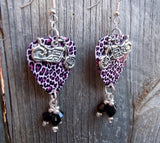 Motorcycle on Pink and Black Cheetah Guitar Pick Earrings with Crystal Dangles