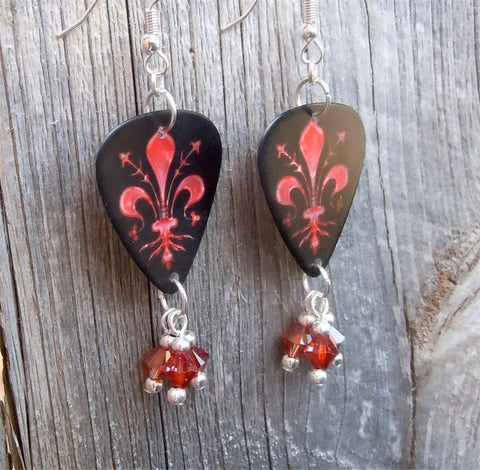 Fleur de Lis Guitar Pick Earrings with Indian Red Swarvsoki Crystal Dangles
