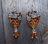 Motorcycle Charms on a Leopard Print Guitar Pick Earrings with Amber Swarovski Crystal Dangles