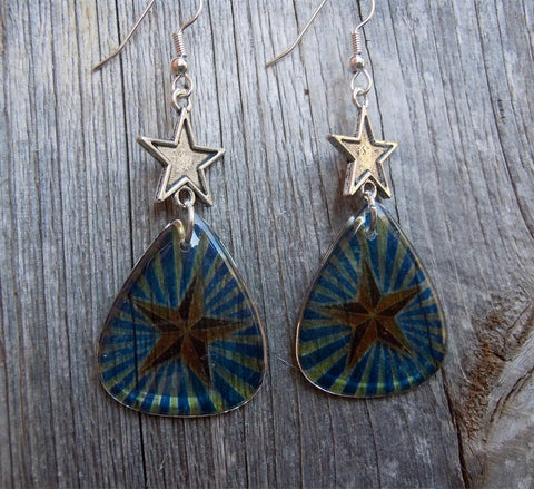 Transparent Star Guitar Pick Earrings with Star Connector Charm