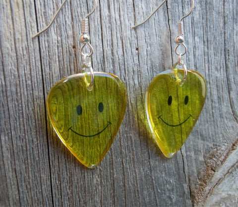 Emoji Smiley Face Transparent Guitar Pick Earrings