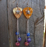 Sun and Star Charm on Gold MOP Guitar Pick Earrings with Extra Long Dangles