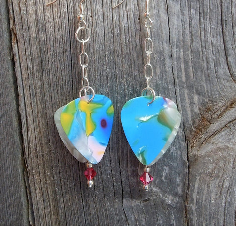 Cascading Blue MultiColor and White MOP Guitar Pick Earrings with Pink Swarovski Crystals
